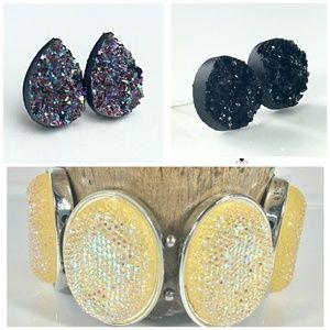 Jewelry - Faux Druzy Earrings & Silver Elastic Bracelet Lot